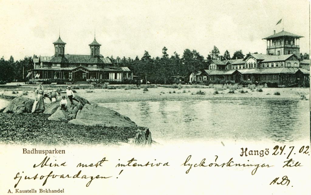 Vanha kuva Hangon Casinosta ja kylpylästä, joka tuhoutui sodassa.