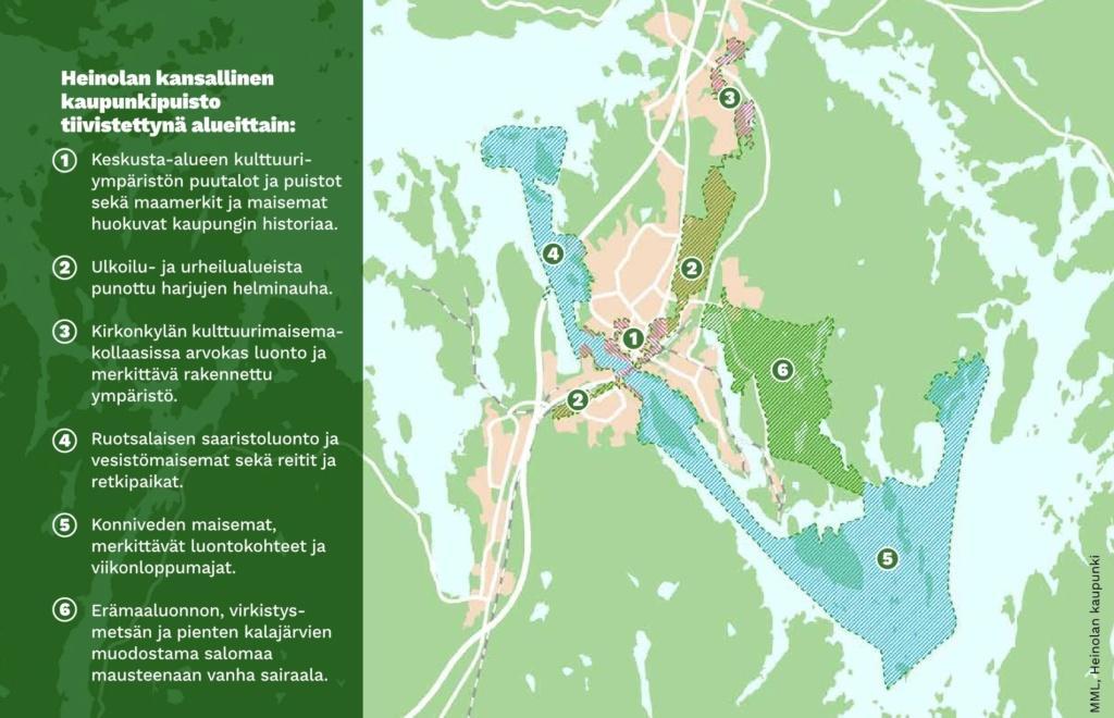 Heinolan kansallisen kaupunkipuiston aluekartta