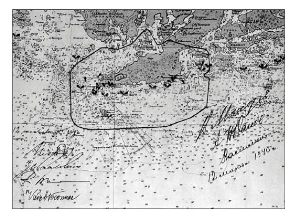 Kartta Neuvostoliiton vuokra-alueesta Hangossa vuonna 1940.