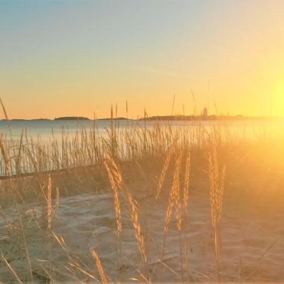 Kuvassa tammikuinen auringonlasku Tullinimiemen rannalla Hangossa