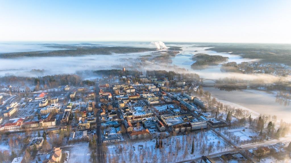 ilmakuva talvisesta Heinolasta