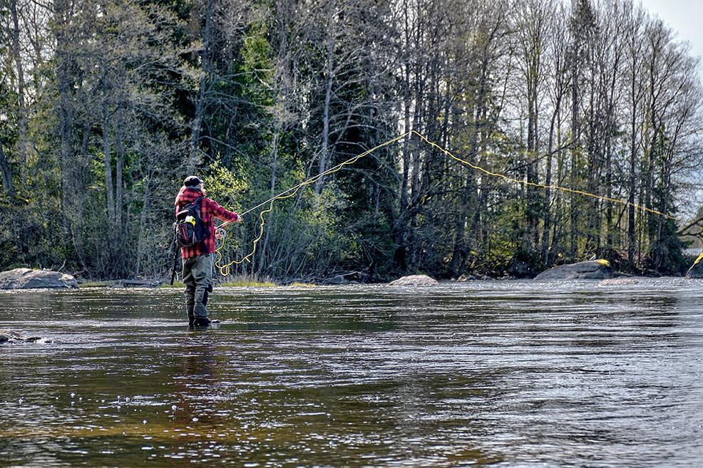 Perhokalastaja seisoo joessa