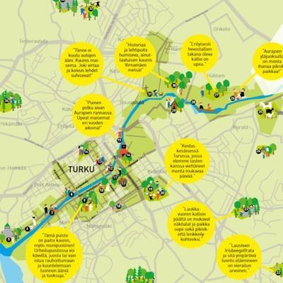 Turkulaisten lempipaikat -kartta
