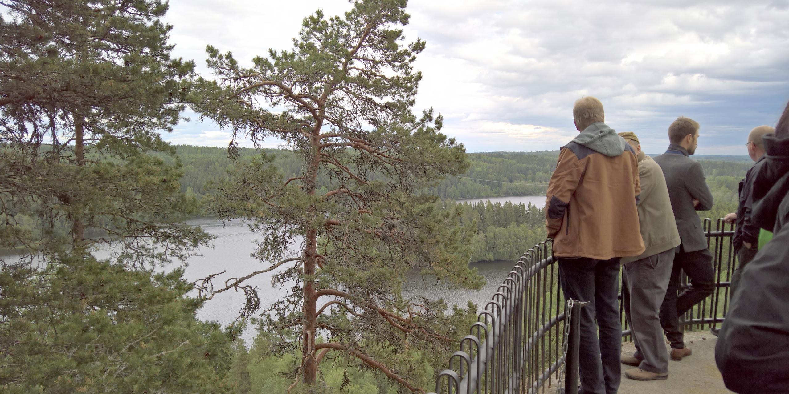Etualla ihmisiä Aulangon näkötornin juuressa olevalla maisemankatselupaikalla. Taustalla Aulangonjärvi, Lusikkaniemi ja rikkumaton metsämaisema Sibeliuksen metsän luonnonsuojelualueesta.