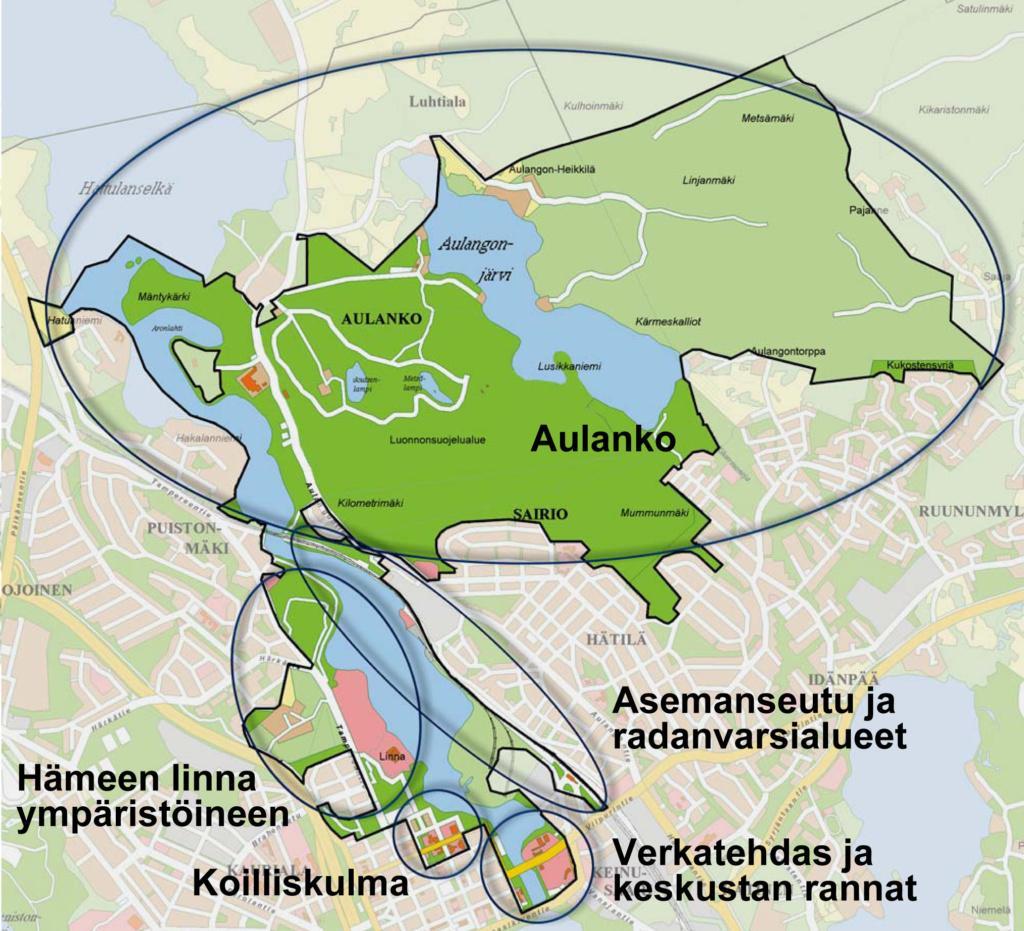 Kartalla ympyröitynä Hämeenlinnan kansallisen akupunkipuiston suuralueet: Hämeen linna ympäristöineen, Koilliskulma, Verkatehdas ja keskustan rannat, Asemanseutu ja radanvarsialueet sekä Aulanko