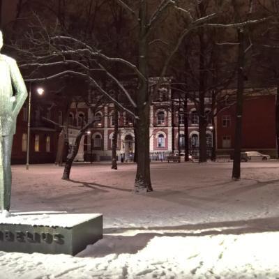 Nuorta Sibeliusta kuvaava pronssiveistos jalustallaan Hämeenlinnan Sibeliuksenpuistossa, talvisena iltana. Taustalla Hämeenlinnan Lyseon rakennus.