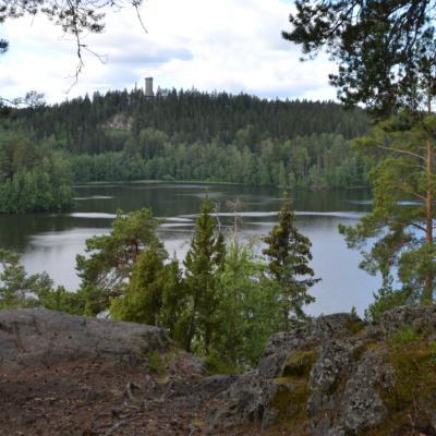 Kesäinen näkymä Sibeliuksen metsän Kärmeskalliolta Aulangonjärven yli kohti horisontissa olevaa Aulangon puistoa ja näkötornia.