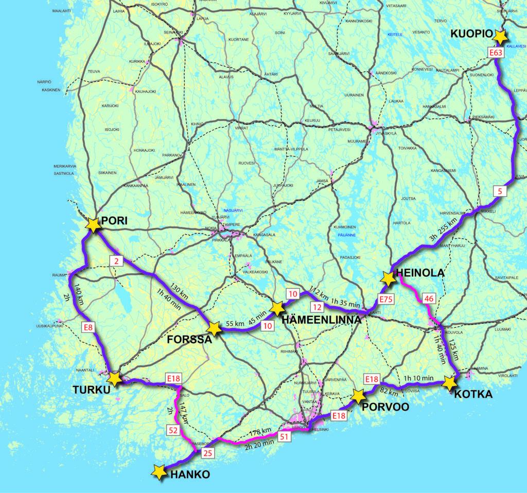 Suomen kartalla yhdeksän kansallista kaupunkipuistoa, maanteiden yhdistämänä ja välimatkatiedoilla varustettuna