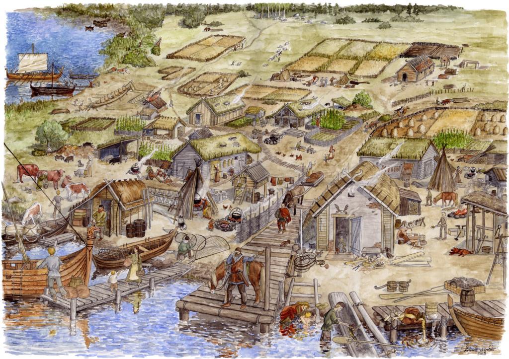 Vesivärityönä tehty kuvitteellinen piirros Varikonniemen muinaisesta asutuksesta ja asukkaista. Muinaisia ihmisiä, rakennuksia, eläimiä ja peltoja, ranta- ja kalastustoimintoja.